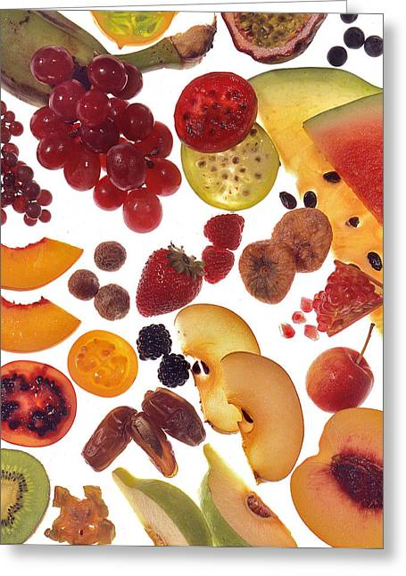 Passion Fruit Greeting Cards - Array of Freshloy Cut Fruit Greeting Card by Peter Hogg