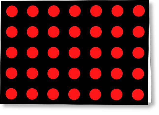 Tyrannies Greeting Cards - ARRAY of RED CIRCLES on BLACK Greeting Card by Daniel Hagerman