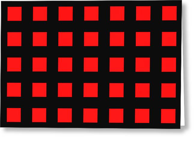 Conformist Greeting Cards - ARRAY of RED SQUARES on BLACK Greeting Card by Daniel Hagerman