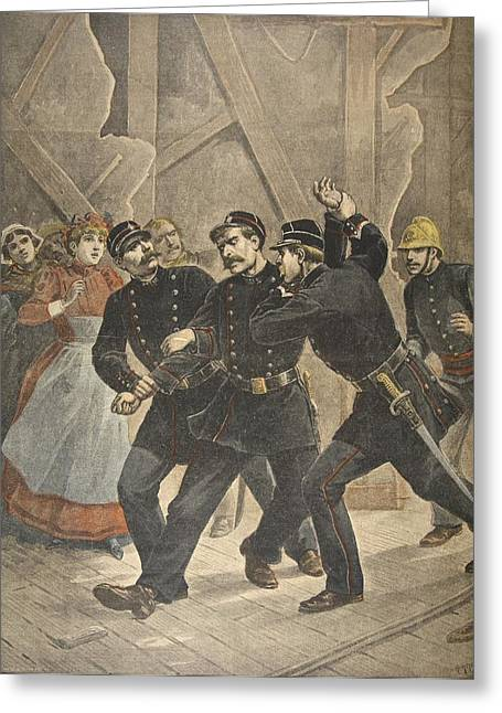 Arrest Greeting Cards - Arrest Of A Town Sergent, Illustration Greeting Card by French School