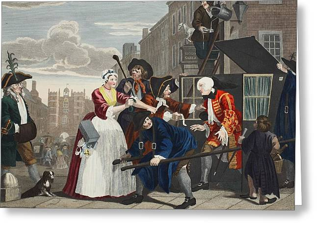Street Scenes Greeting Cards - Arrested For Debt, Plate V From A Rakes Greeting Card by William Hogarth