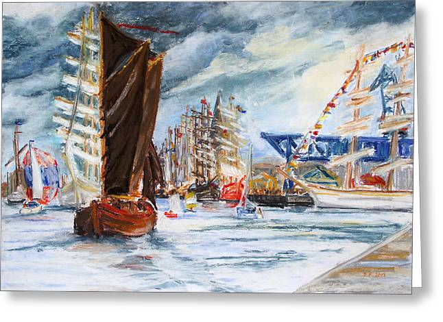 Seen Pastels Greeting Cards - Arrival At The Hanse Sail Rostock Greeting Card by Barbara Pommerenke