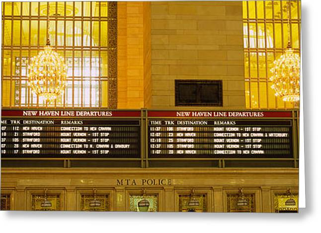 Departure Greeting Cards - Arrival Departure Board In A Station Greeting Card by Panoramic Images