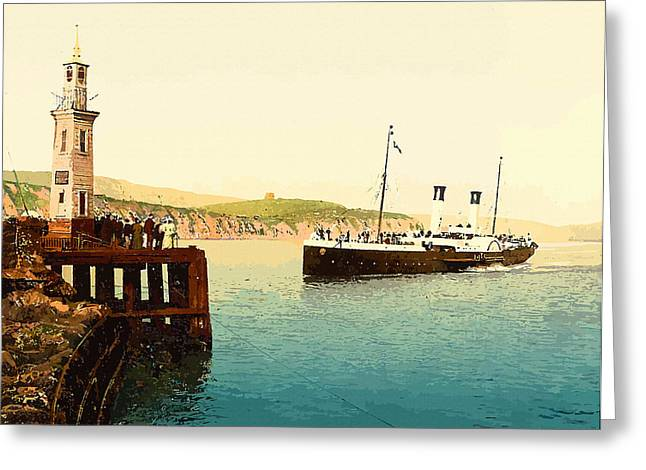 19th Century America Digital Art Greeting Cards - Arrival of Boulogne boat Folkestone - England  Greeting Card by Don Kuing