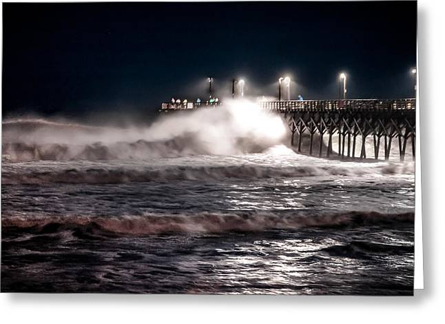 City Pier Greeting Cards - ARRIVAL of HURRICANE ARTHUR Greeting Card by Karen Wiles