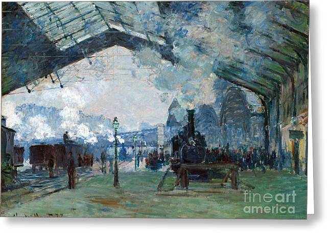 Vintage Painter Greeting Cards - Arrival of the Normandy Train Gare Saint-Lazare Greeting Card by Claude Monet