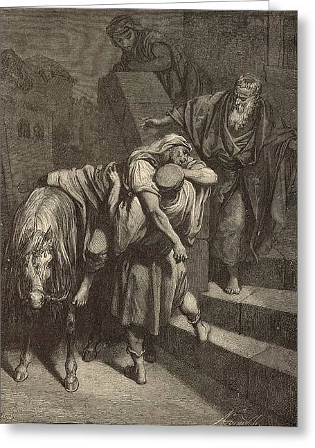 Arrival Of The Samaritan At The Inn Greeting Card by Antique Engravings