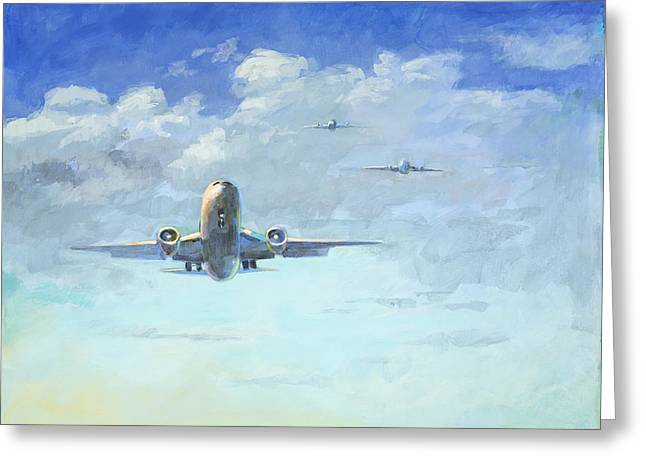 Airplanes Greeting Cards - Arrivals #1 Greeting Card by David Palmer