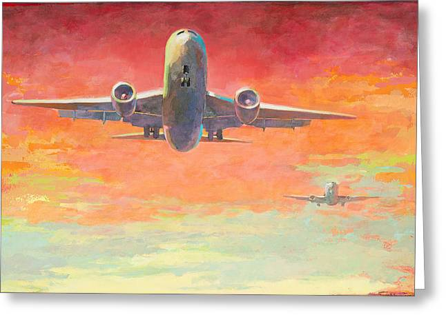 Airplanes Greeting Cards - Arrivals #2 Greeting Card by David Palmer