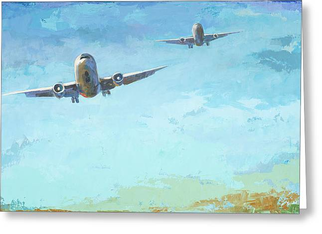 Airplanes Greeting Cards - Arrivals #3 Greeting Card by David Palmer
