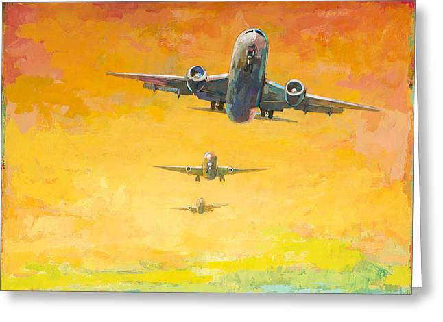 Airplanes Greeting Cards - Arrivals #4 Greeting Card by David Palmer