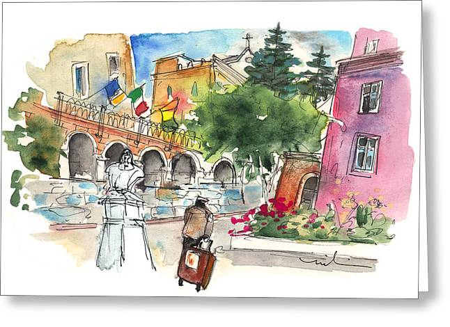 Historic Statue Drawings Greeting Cards - Arriving in Siracusa Greeting Card by Miki De Goodaboom