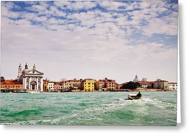 Venice Travel Greeting Cards - Arriving in Venice by Boat Greeting Card by Susan  Schmitz