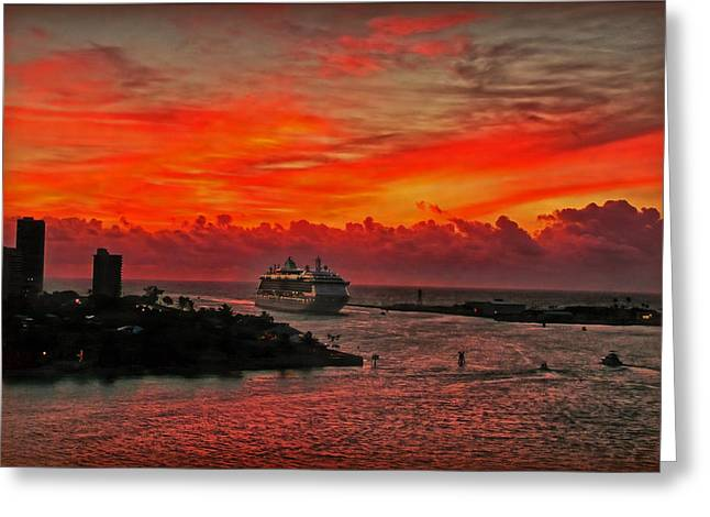 Atlantik Greeting Cards - Arriving Port Everglades Greeting Card by Hanny Heim