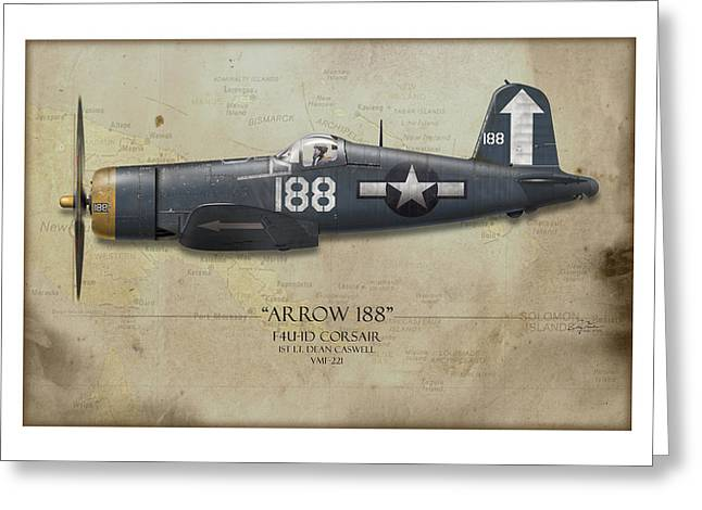Aircraft Carrier Greeting Cards - Arrow 188 F4U Corsair - Map Background Greeting Card by Craig Tinder