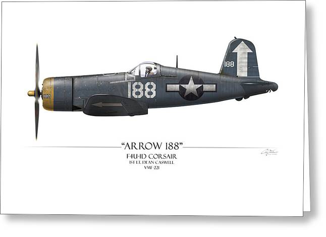 Aircraft Carrier Greeting Cards - Arrow 188 F4U Corsair - White Background Greeting Card by Craig Tinder