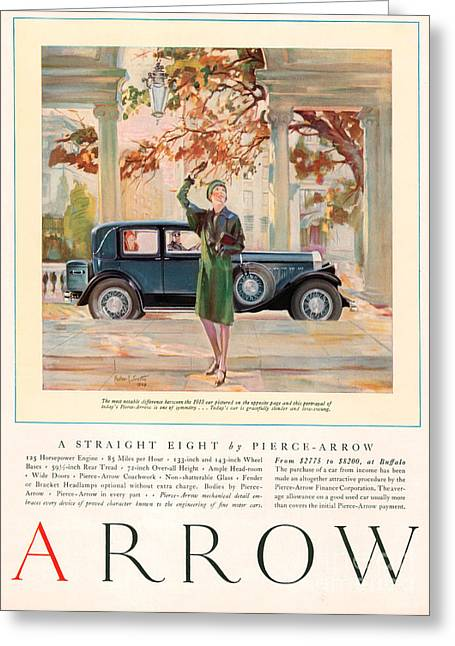 American Automobiles Greeting Cards - Arrow 1929 1920s Usa Cc Cars Autumn Greeting Card by The Advertising Archives
