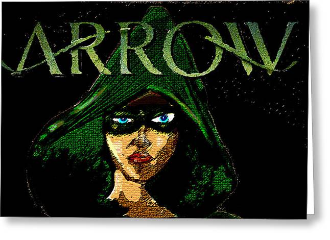 Comic Book Character Paintings Greeting Cards - Arrow Face  Greeting Card by Jazzboy