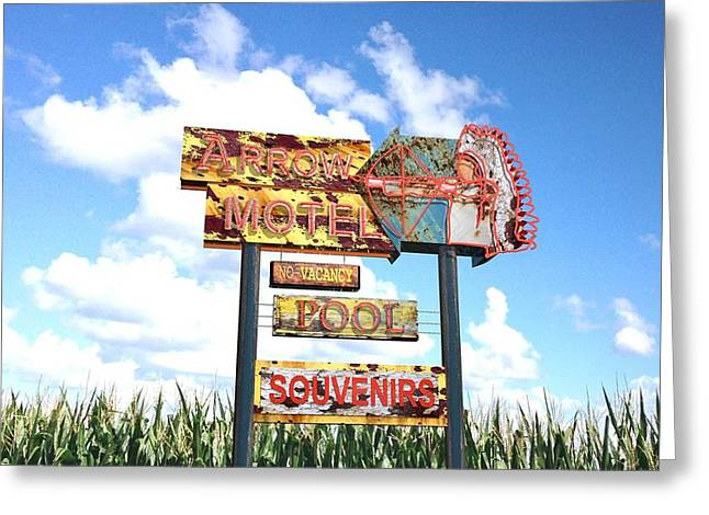 Circus Graphics Greeting Cards - Arrow Motel  Greeting Card by Larry  Page