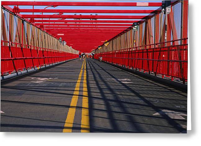 Double Yellow Line Greeting Cards - Arrow Signs On A Bridge, Williamsburg Greeting Card by Panoramic Images