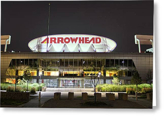 Kansas City Photographs Greeting Cards - Arrowhead Night Greeting Card by Thomas Zimmerman