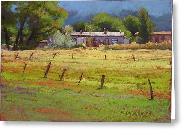 Storm Pastels Greeting Cards - Arroyo Hondo Greeting Card by Sarah Blumenschein