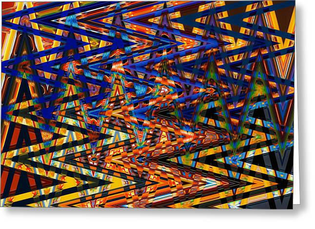 Geometric Effect Paintings Greeting Cards - Art abstract geometric pattern 2 Greeting Card by Lanjee Chee