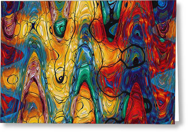 Transparency Geometric Greeting Cards - Art abstract vibrant colorful background Greeting Card by Lanjee Chee