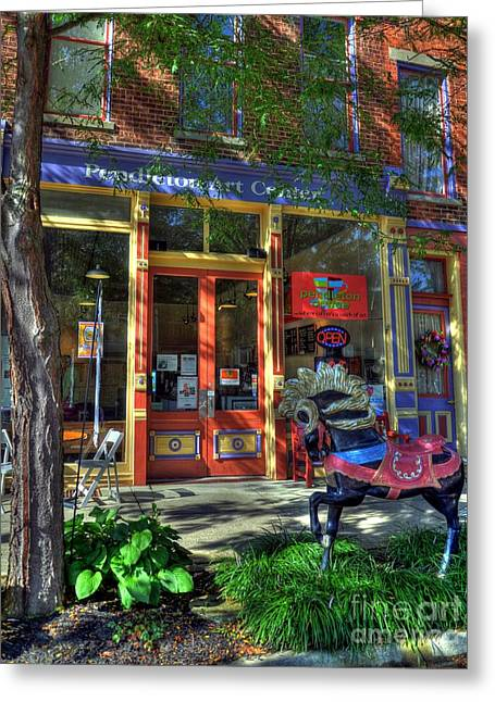 Indiana Art Greeting Cards - Art And Coffee Greeting Card by Mel Steinhauer