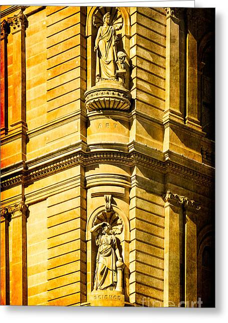 Renaissance Center Greeting Cards - Art and Science in harmony - textured Sydney sandstone statues on a building Greeting Card by David Hill