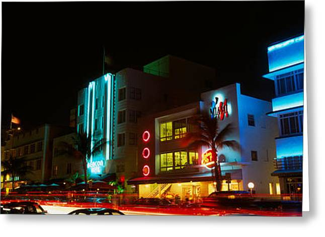 Ocean Art Photography Greeting Cards - Art Deco Architecture Miami Beach Fl Greeting Card by Panoramic Images