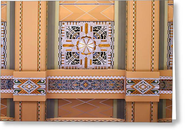 Brown Tones Greeting Cards - Art Deco Ceiling Decoration Greeting Card by Nikolyn McDonald