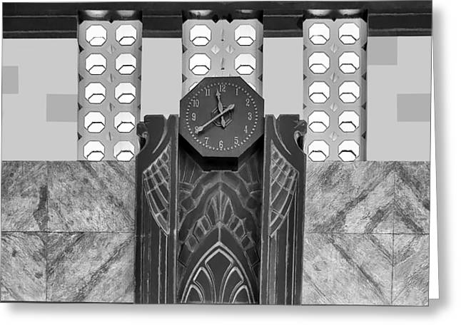 Union Station Lobby Greeting Cards - Art Deco Clock - bw Greeting Card by Nikolyn McDonald