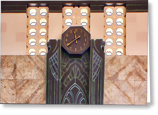 Union Station Lobby Greeting Cards - Art Deco Clock Greeting Card by Nikolyn McDonald