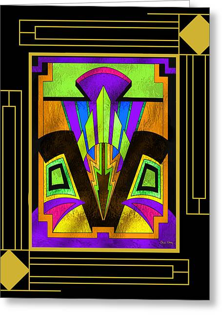 Staley Art Greeting Cards - Art Deco - Design 5 B Mat Greeting Card by Chuck Staley