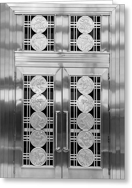 Best Sellers -  - Stainless Steel Greeting Cards - Art Deco Door 2 Greeting Card by Andrew Fare