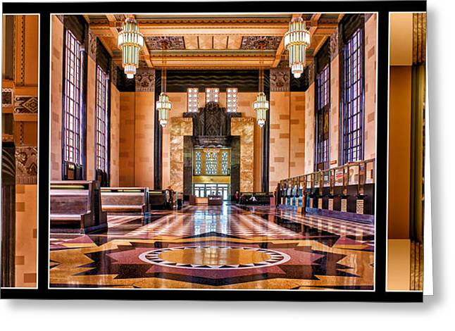 Union Station Lobby Greeting Cards - Art Deco Durham Triptych #1 Greeting Card by Nikolyn McDonald