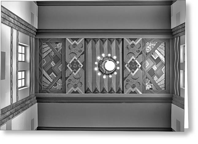 Union Station Lobby Greeting Cards - Art Deco East Anteroom - bw Greeting Card by Nikolyn McDonald