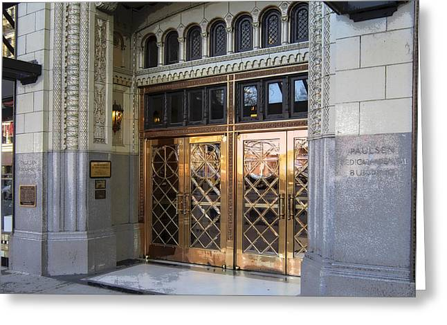 Spokane Greeting Cards - ART DECO ENTRANCE to 1928 PAULSEN BLDG Greeting Card by Daniel Hagerman