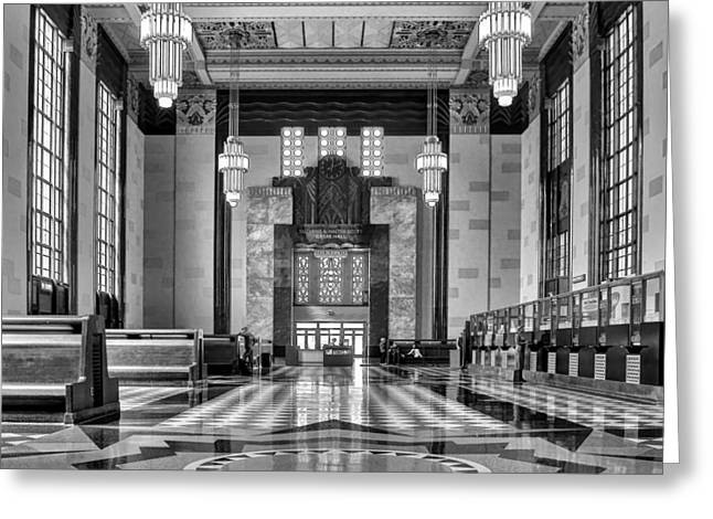 Union Station Lobby Greeting Cards - Art Deco Great Hall #1 - bw Greeting Card by Nikolyn McDonald