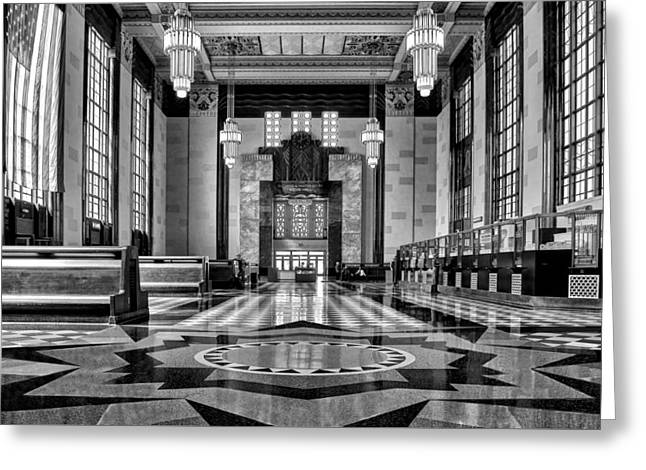 Union Station Lobby Greeting Cards - Art Deco Great Hall #2 - bw Greeting Card by Nikolyn McDonald