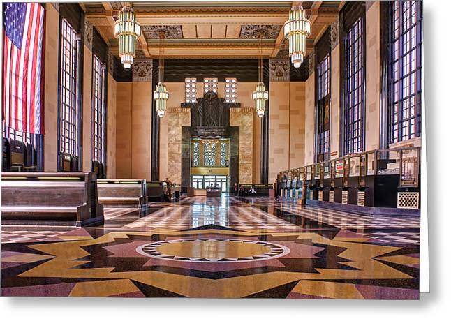 Brown Tones Greeting Cards - Art Deco Great Hall #2 Greeting Card by Nikolyn McDonald