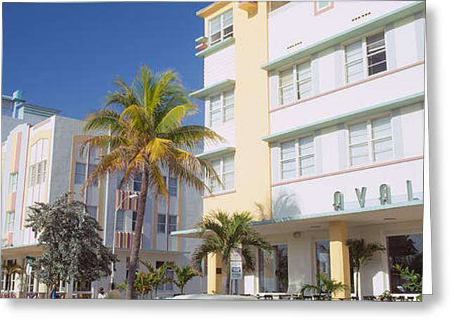 Ocean Art Photography Greeting Cards - Art Deco Hotels, Ocean Drive, Florida Greeting Card by Panoramic Images