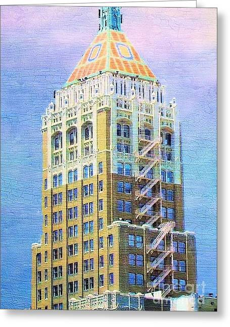 Art Deco Lives At Philtower Greeting Card by Janette Boyd