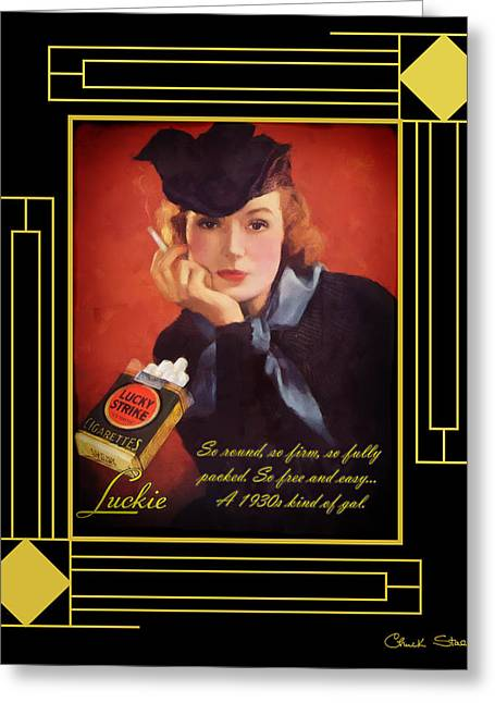Staley Art Greeting Cards - Art Deco - Lucky Strike Ad Greeting Card by Chuck Staley