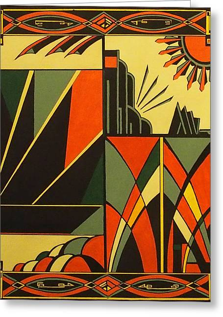New To Vintage Paintings Greeting Cards - Art Deco Magic Greeting Card by Emma Childs