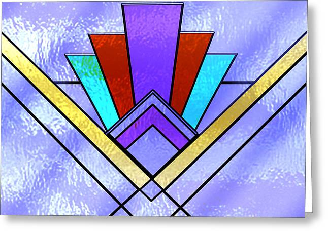 Stained Glass 3 Greeting Cards - Art Deco - Pattern 3 - Glass Greeting Card by Chuck Staley