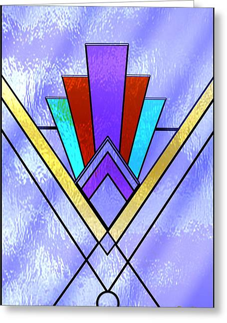 Stained Glass 3 Greeting Cards - Art Deco - Pattern Three - Rectangle Greeting Card by Art Deco Designs