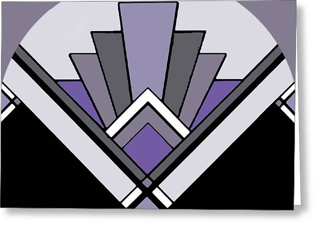 Staley Art Greeting Cards - Art Deco Pattern Two - Purple Greeting Card by Chuck Staley