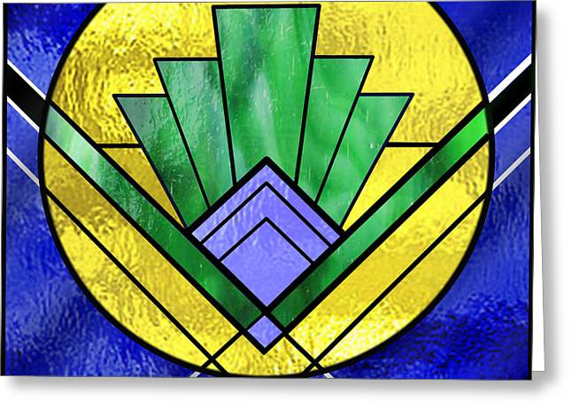 Staley Art Greeting Cards - Art Deco - Pattern Two - Yellow Circle Greeting Card by Chuck Staley
